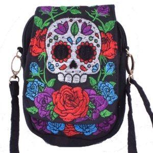 Handbags - Skull Embroidered Small Crossbody Handbag Purse